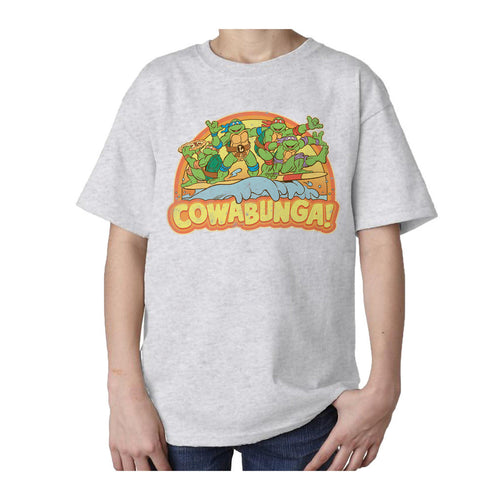 TMNT Gang Retro Cowabunga Official Kid's T-Shirt (Heather Grey)