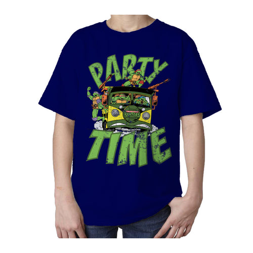 TMNT Gang Retro Party Wagon Official Kid's T-Shirt (Navy) - Urban Species Kids Short Sleeved T-Shirt