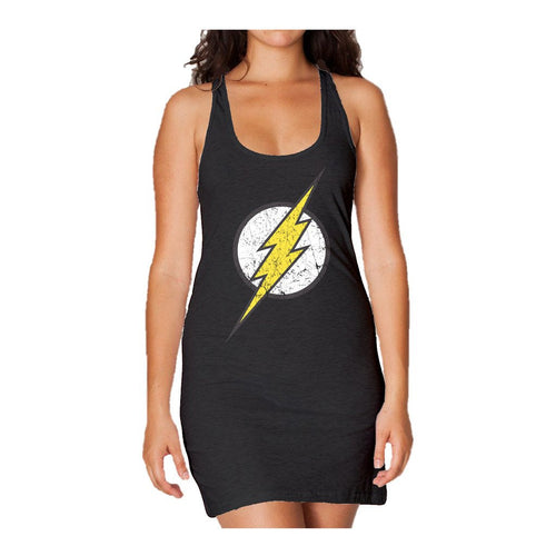 DC Comics Flash Modern Distressed Logo Official Women's Long Tank Dress (Black) - Urban Species Ladies Long Tank Dress