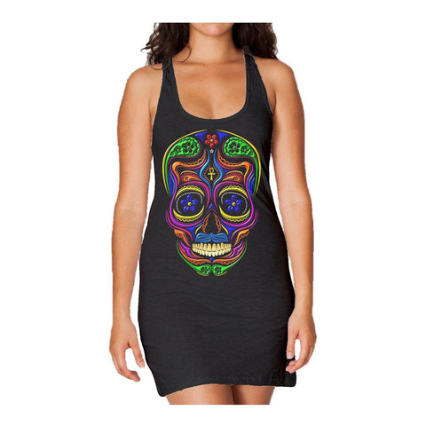 Sugar Skull Mexican Skull Women's Long Tank Dress (Black) - Urban Species Ladies Long Tank Dress