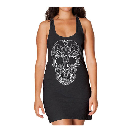 Sugar Skull Tattoo Skull Women's Long Tank Dress (Black) - Urban Species Ladies Long Tank Dress