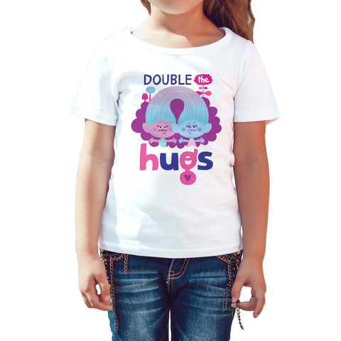 Trolls Double Hugs Official Kid's T-Shirt (White) - Urban Species Kids Short Sleeved T-Shirt