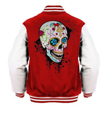 Sugar Skull Gothic Official Varsity Jacket (Red)
