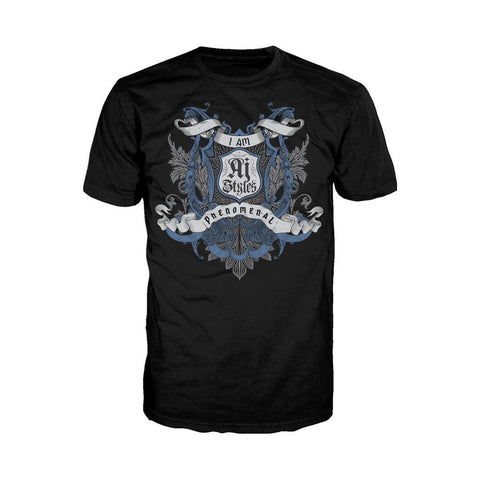 WWE AJ Styles Logo Badge Scroll Official Men's T-shirt (Black)