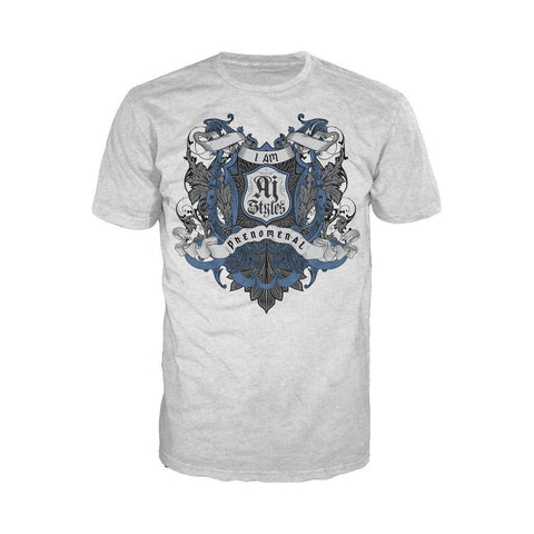 WWE AJ Styles Logo Badge Scroll Official Men's T-shirt (Heather Grey) - Urban Species Mens Short Sleeved T-Shirt