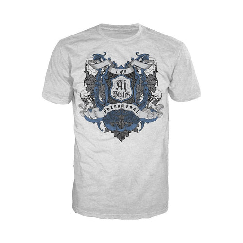 WWE AJ Styles Logo Badge Scroll Official Men's T-shirt (Heather Grey)