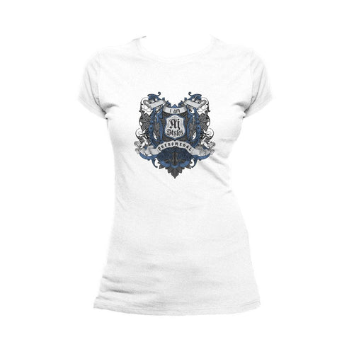 WWE AJ Styles Logo Badge Scroll Official Women's T-shirt (White) - Urban Species Ladies Short Sleeved T-Shirt