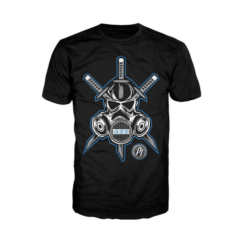 WWE AJ Styles Logo Gas Mask Samurai Official Men's T-shirt (Black)