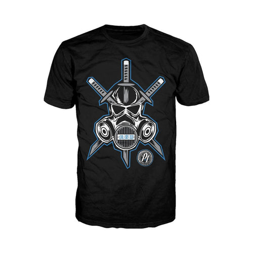 WWE AJ Styles Logo Gas Mask Samurai Official Men's T-shirt (Black) - Urban Species Mens Short Sleeved T-Shirt