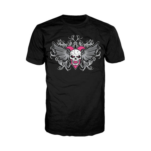 WWE Bret Hart Logo Winged Skull Tatt Official Men's T-shirt (Black) - Urban Species Mens Short Sleeved T-Shirt