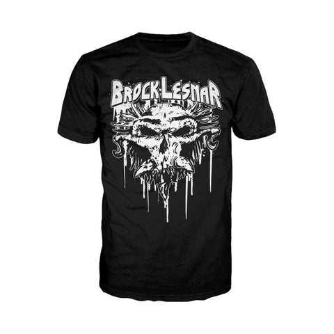 WWE Brock Lesnar Logo Carnage Skull Official Men's T-shirt (Black) - Urban Species Mens Short Sleeved T-Shirt