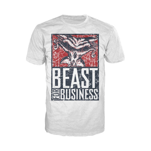 WWE Brock Lesnar Poster Beast Distressed Official Men's T-shirt (White) - Urban Species Mens Short Sleeved T-Shirt