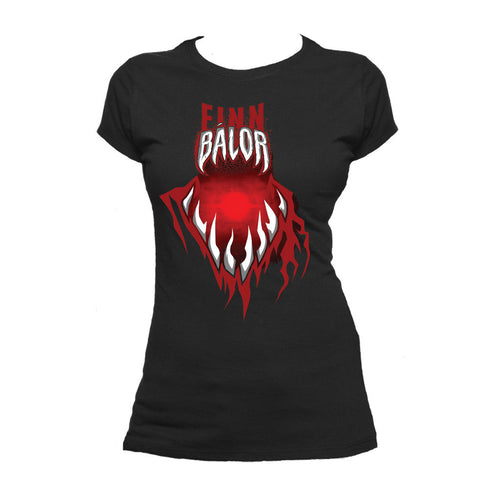WWE Finn Balor Mouth Official Women's T-shirt (Black) - Urban Species Ladies Short Sleeved T-Shirt