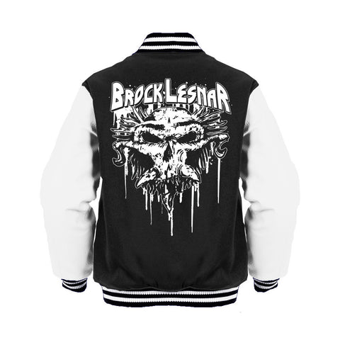 WWE Brock Lesnar Carnage Skull Logo Official Varsity Jacket (Black) - Urban Species Varsity Jacket