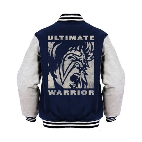 WWE Ultimate Warrior Face Distressed Official Varsity Jacket (Navy) - Urban Species Varsity Jacket