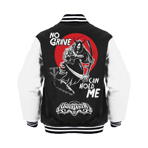 WWE Undertaker Grim Reaper Grave Official Varsity Jacket (Black) - Urban Species Mens Varsity Jacket