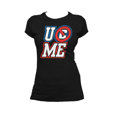 WWE John Cena UCME BIG Logo Official Women's T-shirt (Black) - Urban Species Ladies Short Sleeved T-Shirt