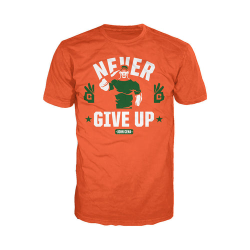 WWE John Cena Never Give Up Salute Official Men's T-shirt (Orange) - Urban Species Mens Short Sleeved T-Shirt