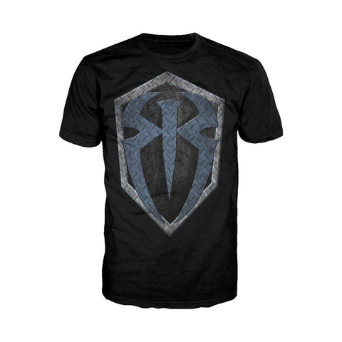 WWE Roman Reigns +Logo Metal Official Men's T-shirt (Black)