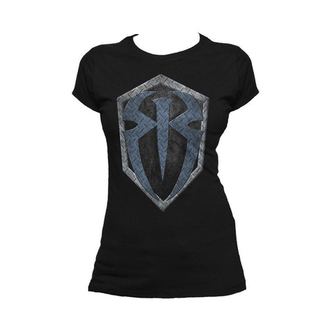 WWE Roman Reigns Logo Metal Official Women's T-shirt (Black) - Urban Species Ladies Short Sleeved T-Shirt
