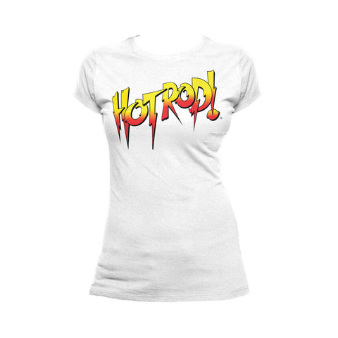 WWE Rowdy Roddy Piper Logo Hot Rod Official Women's T-shirt (White) - Urban Species Ladies Short Sleeved T-Shirt
