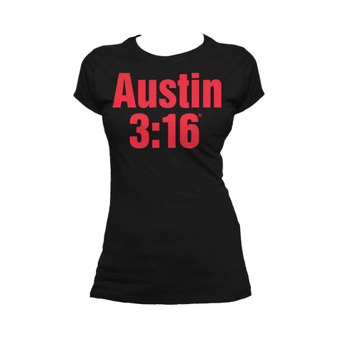 WWE Stone Cold Steve Austin 3:16 Official Women's T-shirt (Black) - Urban Species Ladies Short Sleeved T-Shirt