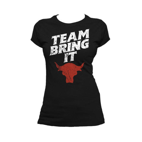 WWE The Rock Bull Team Bring It Official Women's T-shirt (Black) - Urban Species Ladies Short Sleeved T-Shirt