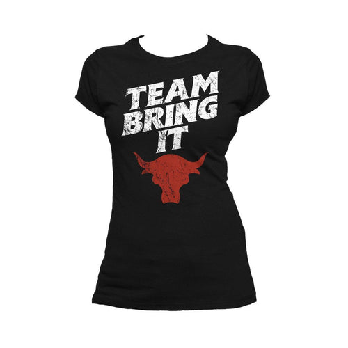 WWE The Rock Bull Team Bring It Official Women's T-shirt (Black)