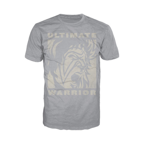WWE Ultimate Warrior Face Distressed Official Men's T-shirt (Charcoal Grey) - Urban Species Mens Short Sleeved T-Shirt