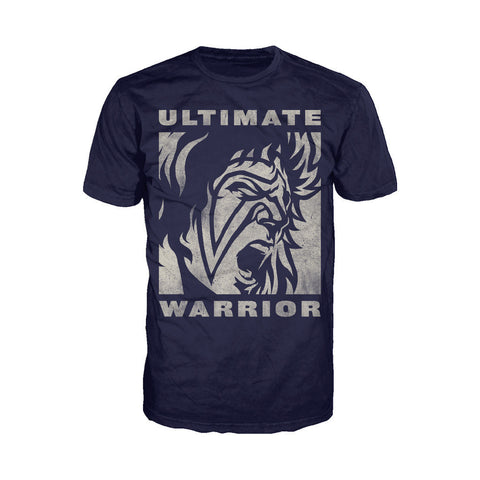 WWE Ultimate Warrior Face Distressed Official Men's T-shirt (Navy) - Urban Species Mens Short Sleeved T-Shirt