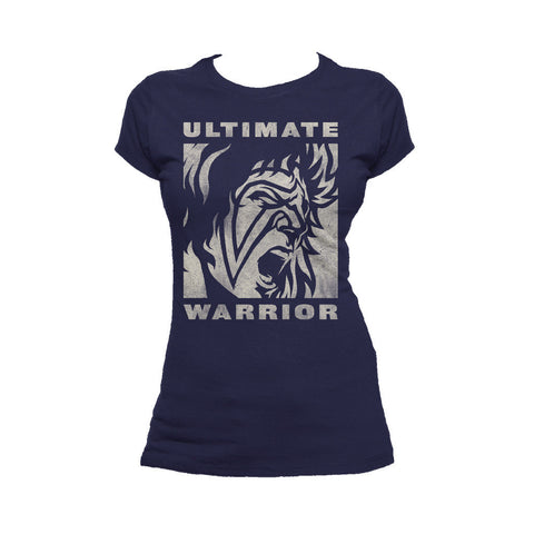 WWE Ultimate Warrior Face Distressed Official Women's T-shirt (Navy) - Urban Species Ladies Short Sleeved T-Shirt