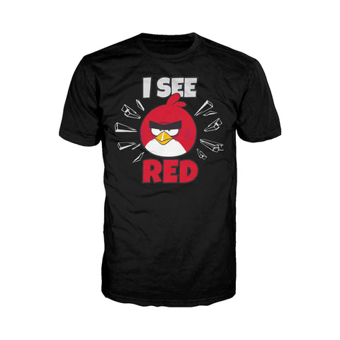 Angry Birds Text Red I See Official Men's T-Shirt (Black)