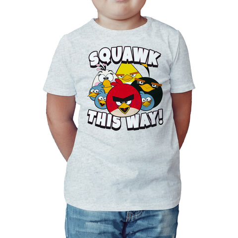 Angry Birds Group Squawk This Way Official Kid's T-shirt (Heather Grey) - Urban Species Kids Short Sleeved T-Shirt