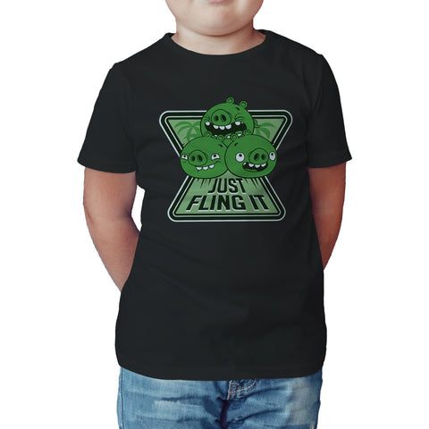 Angry Birds Pigs Minions Text Fling Official Kid's T-Shirt (Black) - Urban Species Kids Short Sleeved T-Shirt