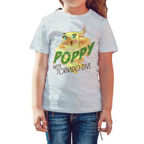 Angry Birds Poppy Graphic Tornado Official Kid's T-shirt (Heather Grey) - Urban Species Kids Short Sleeved T-Shirt