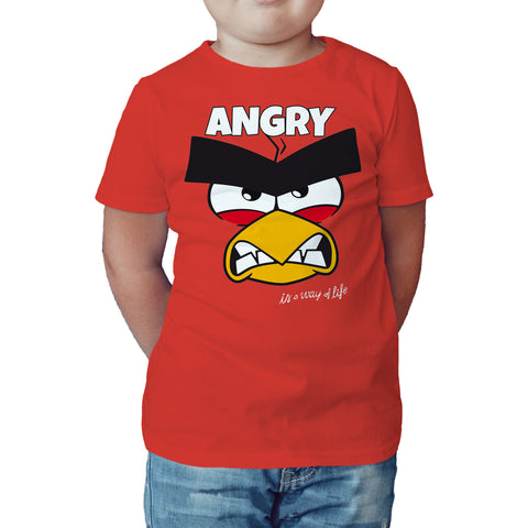 Angry Birds Red Text Angry Official Kid's T-shirt (Red) - Urban Species Kids Short Sleeved T-Shirt