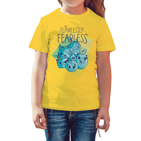 Angry Birds Team Girls Graphic Fearless Official Kid's T-Shirt (Yellow) - Urban Species Kids Short Sleeved T-Shirt
