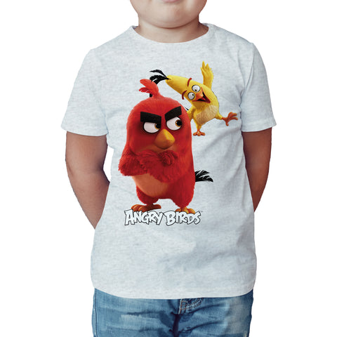Angry Birds Team Red Chuck Official Kid's T-shirt (Heather Grey) - Urban Species Kids Short Sleeved T-Shirt
