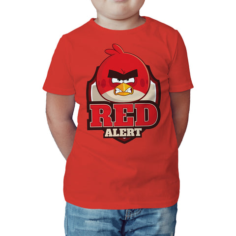 Angry Birds Text Red Alert Official Kid's T-shirt (Red) - Urban Species Kids Short Sleeved T-Shirt