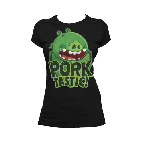 Angry Birds Pigs Minions Text Porktastic Official Women's T-Shirt (Black) - Urban Species Ladies Short Sleeved T-Shirt