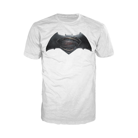 DC Batman V Superman Logo Standard Official Men's T-shirt (White) - Urban Species Mens Short Sleeved T-Shirt