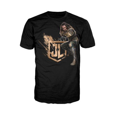 DC Justice League Logo Aquaman Official Men's T-shirt (Black) - Urban Species Mens Short Sleeved T-Shirt