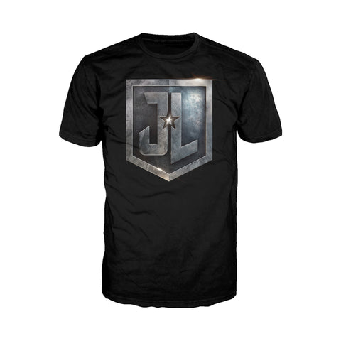 DC Justice League Logo Metallic Official Men's T-shirt (Black) - Urban Species Mens Short Sleeved T-Shirt