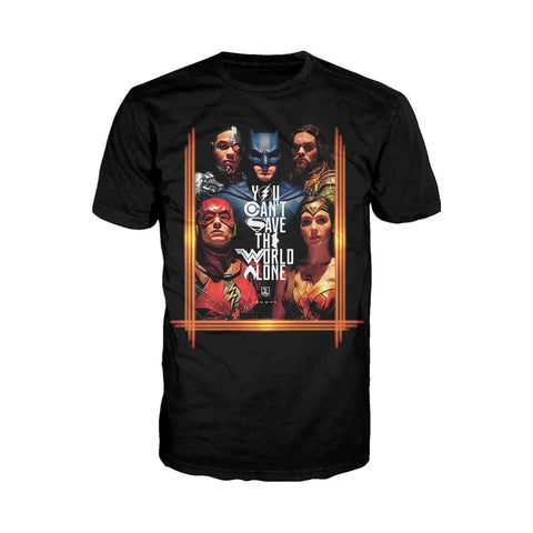 DC Justice League Poster Save The World Official Men's T-shirt (Black) - Urban Species Mens Short Sleeved T-Shirt