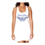 DC Wonder Woman Logo Watermark Official Women's Long Tank Dress (White) - Urban Species Ladies Long Tank Dress