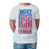 DC Justice League Team Stripe Official Kid's T-Shirt (Heather Grey)