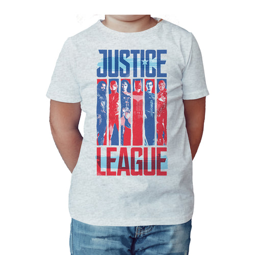 DC Justice League Team Stripe Official Kid's T-Shirt (Heather Grey) - Urban Species Kids Short Sleeved T-Shirt