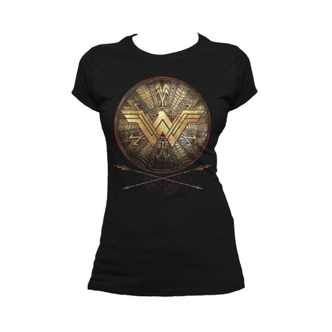 DC Wonder Woman Logo 3D Shield Official Women's T-shirt (Black) - Urban Species Ladies Short Sleeved T-Shirt