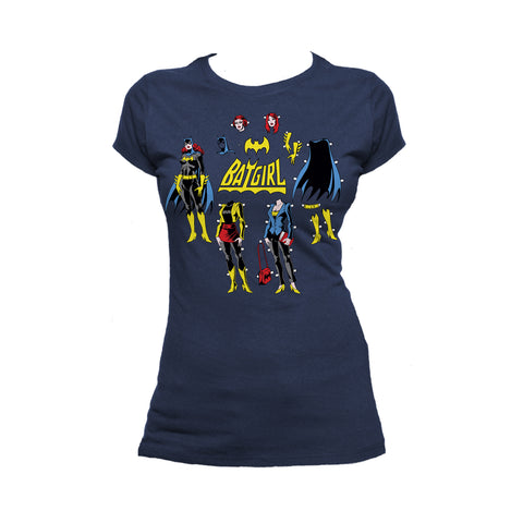 DC Comics Batgirl Logo Cut Out Official Women's T-shirt (Navy) - Urban Species Ladies Short Sleeved T-Shirt