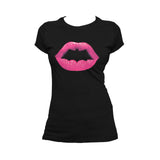 DC Comics Batgirl +Logo Lips Official Women's T-shirt (Black) - Urban Species Ladies Short Sleeved T-Shirt